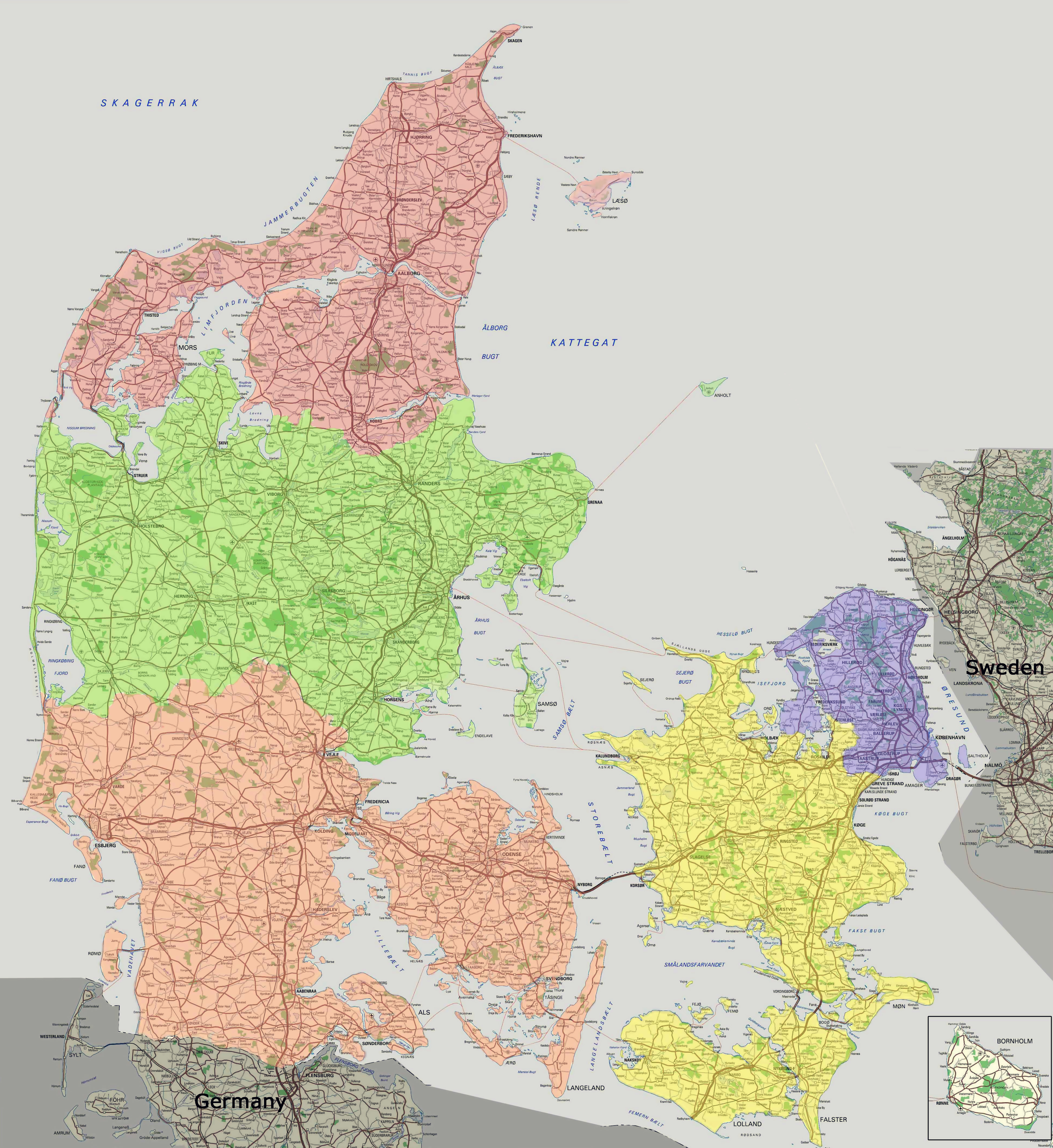 large scale detailed road map of denmark with all cities and