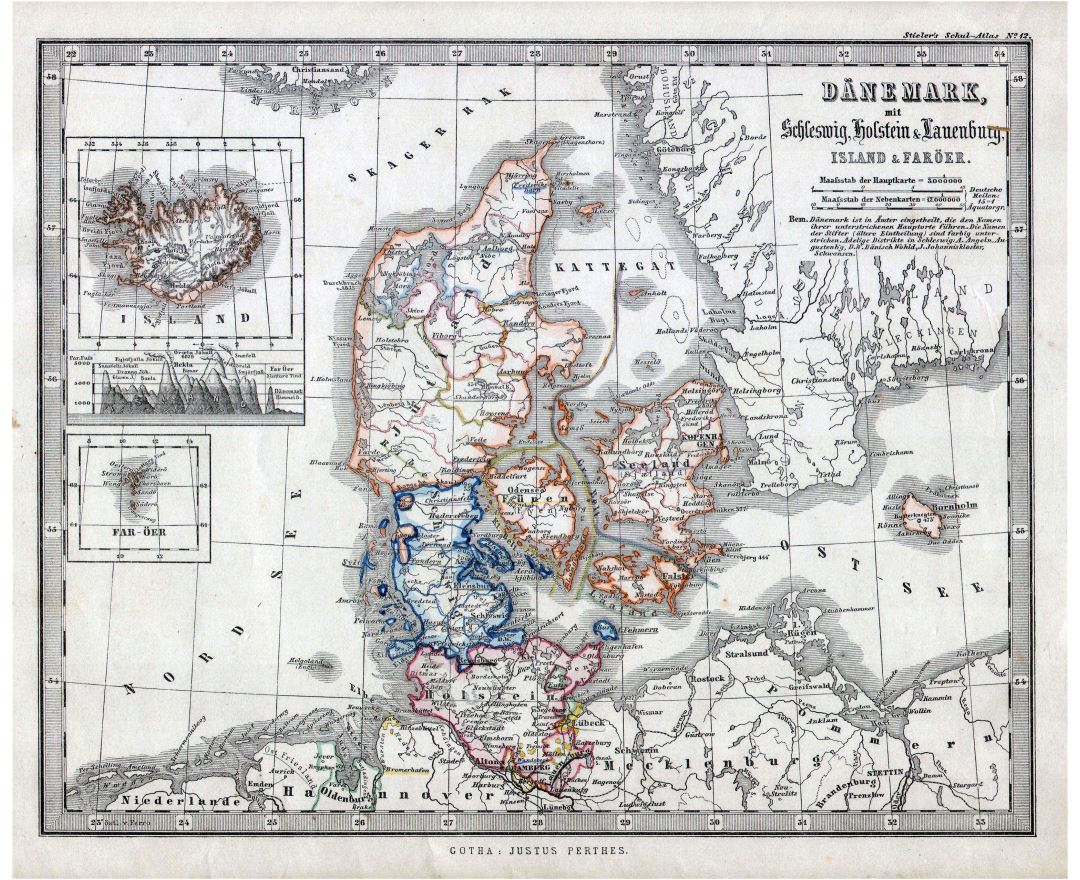 Large scale old political and administrative map of Denmark with cities - 1862