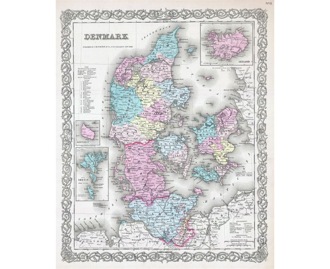 Large scale old political and administrative map of Denmark with roads and cities - 1855