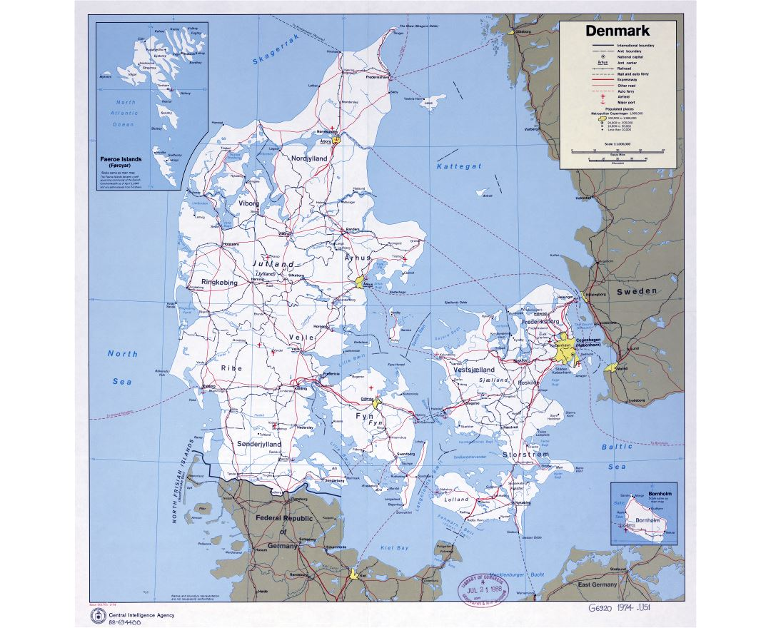 Large scale political and administrative map of Denmark with roads, railroads, airports, seaports and cities - 1974