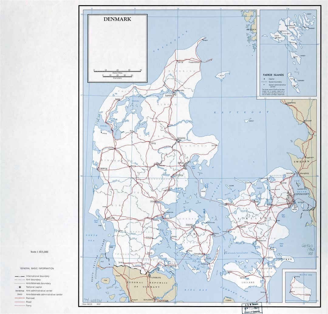 Large scale political and administrative map of Denmark with roads, railroads and major cities - 1962