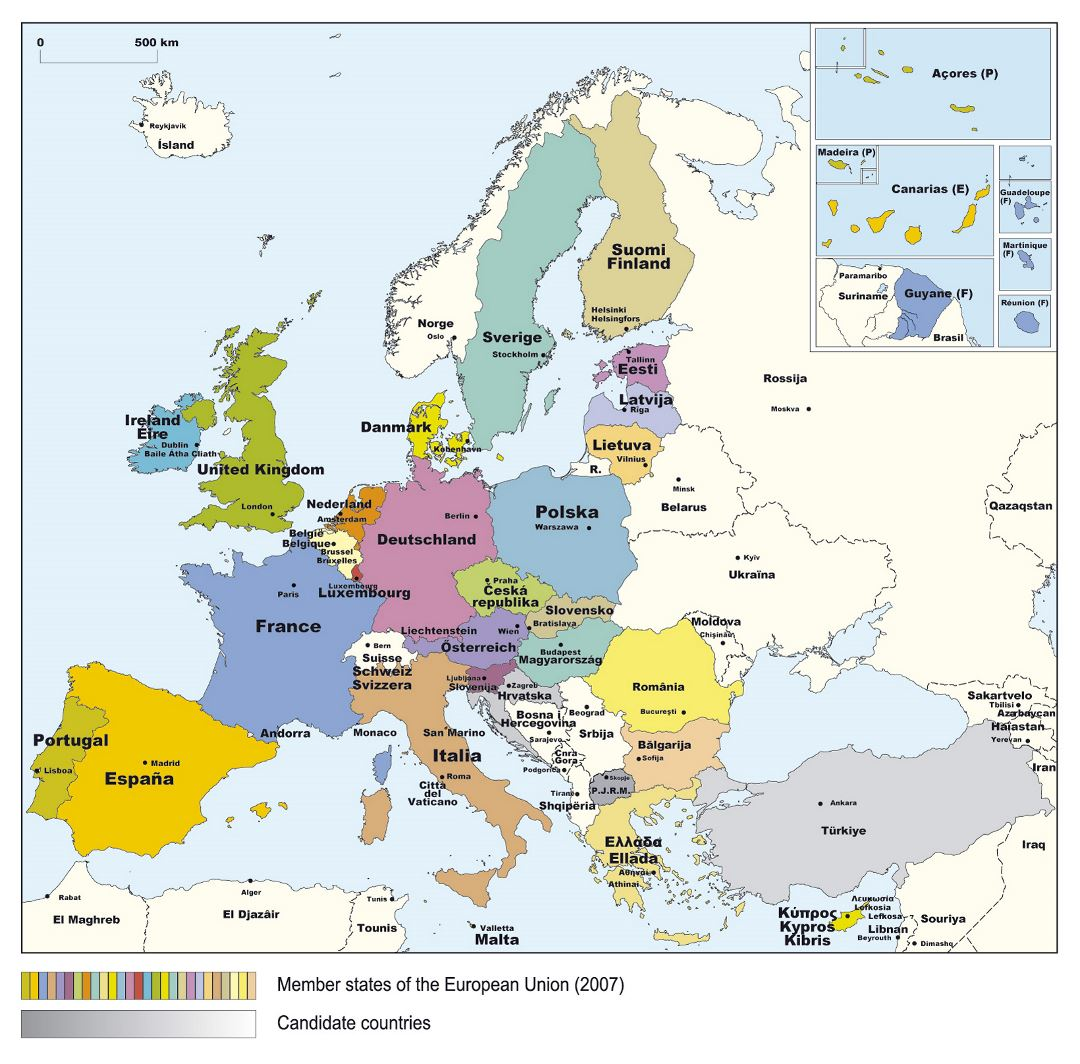 Detailed map of Member States of the European Union - 2007