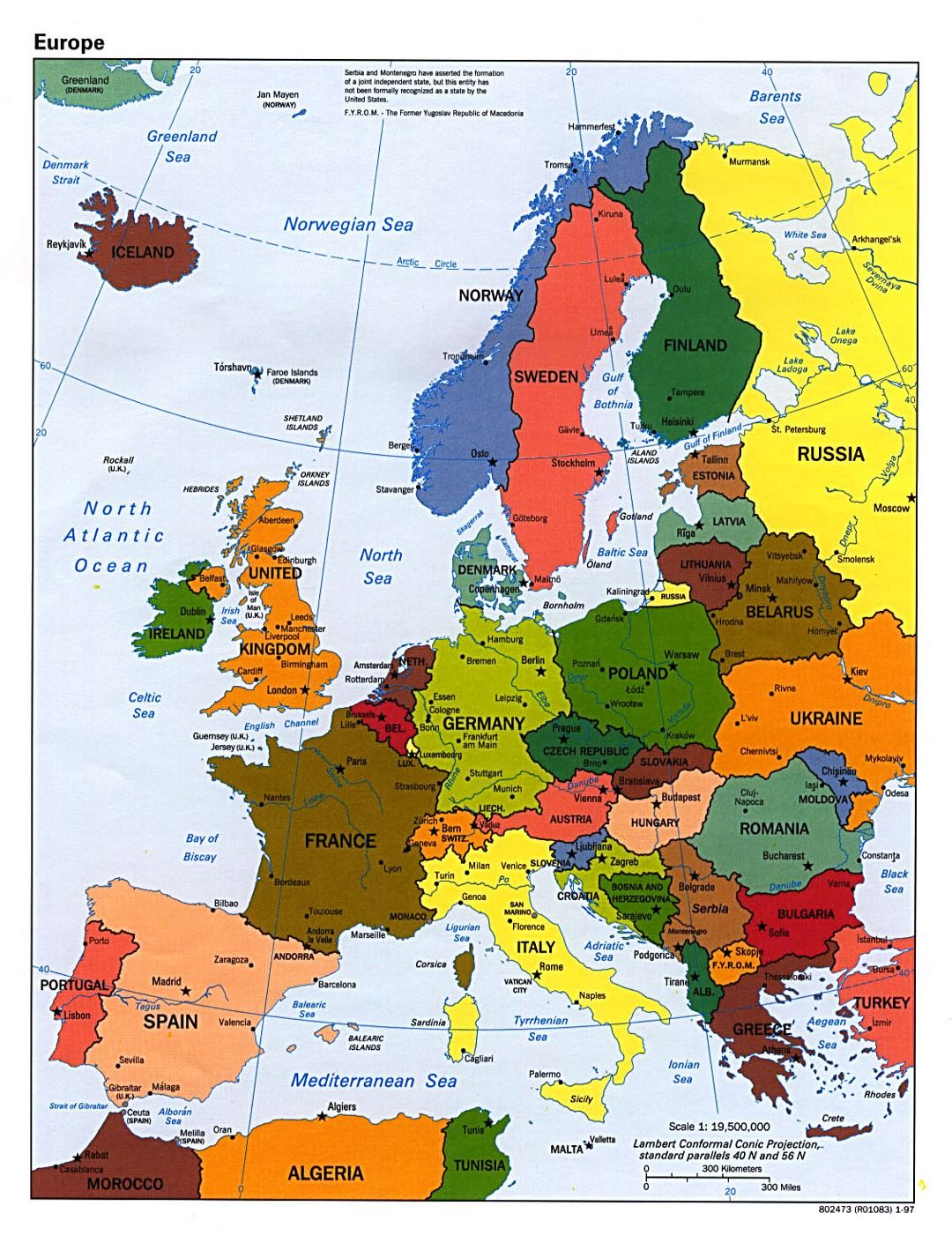 Detailed political map of Europe with capitals and major cities - 1997