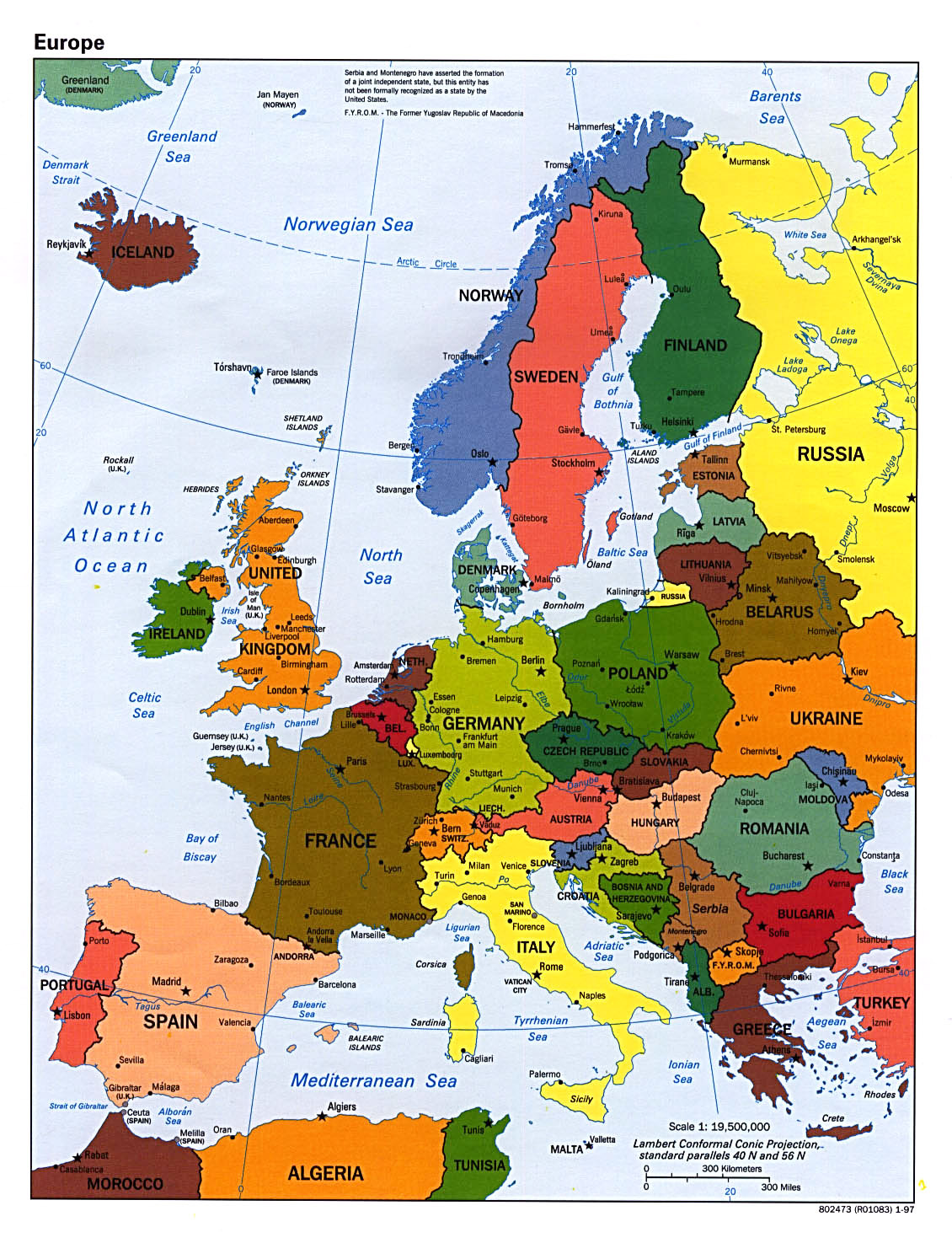 Detailed political map of Europe with capitals and major ...