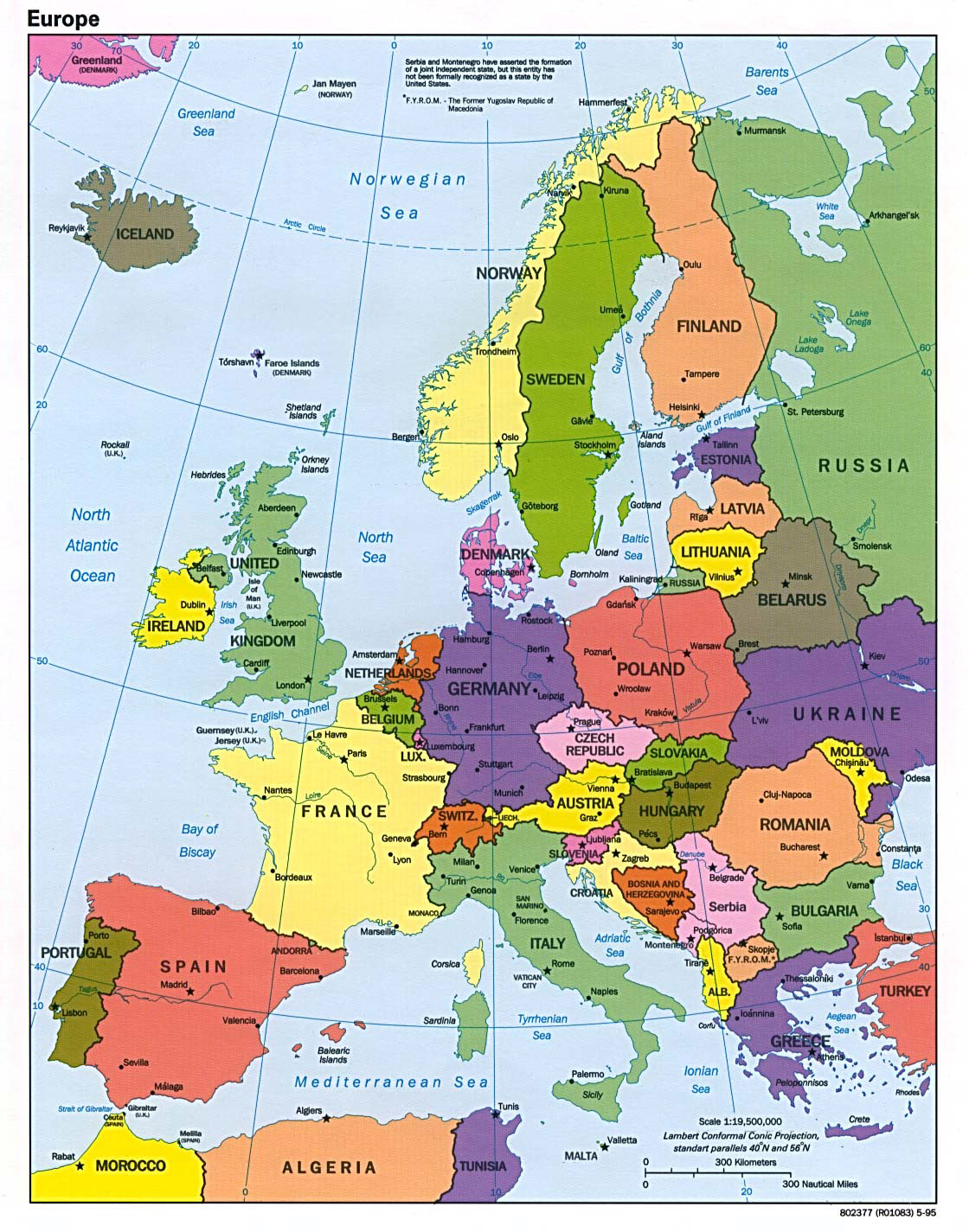 Map Of Europe With Major Cities Detailed political map of Europe with major cities   1995 | Europe