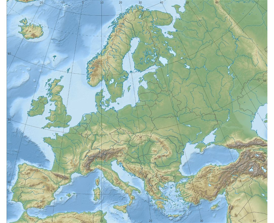 detailed relief map of europe