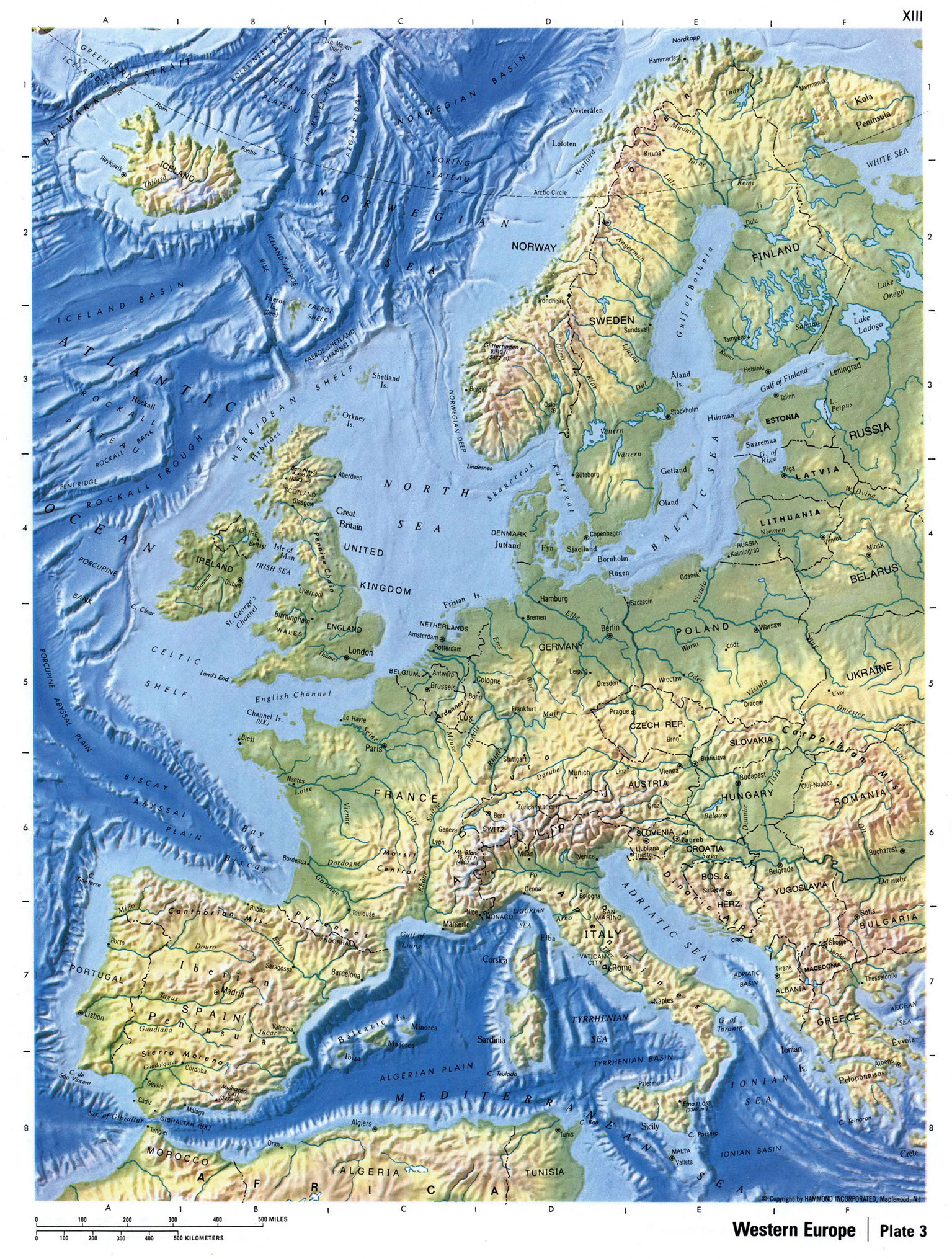Western Europe 1 500 Map: Detailed Relief Map Of Western Europe