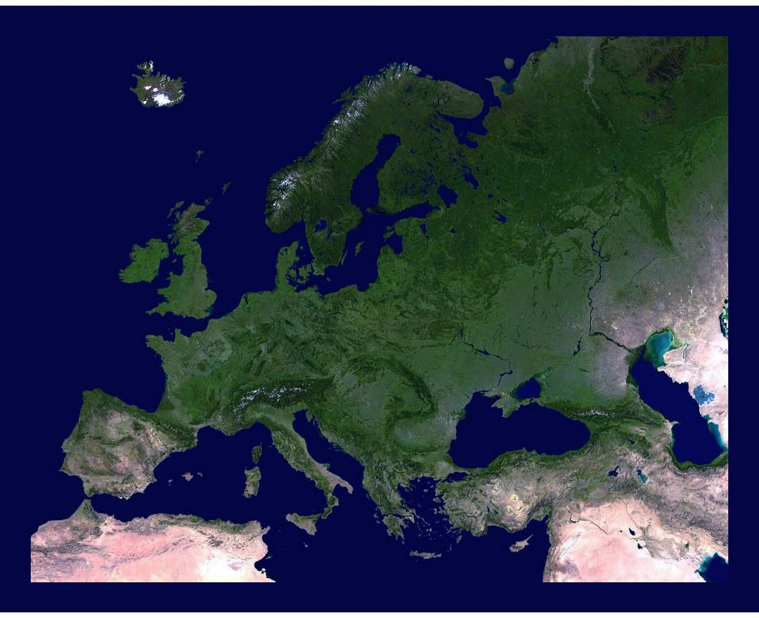 Detailed satellite image of Europe