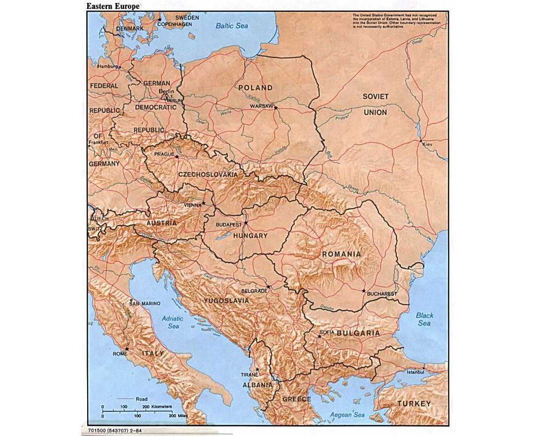 detailed political map of eastern europe with relief 1984