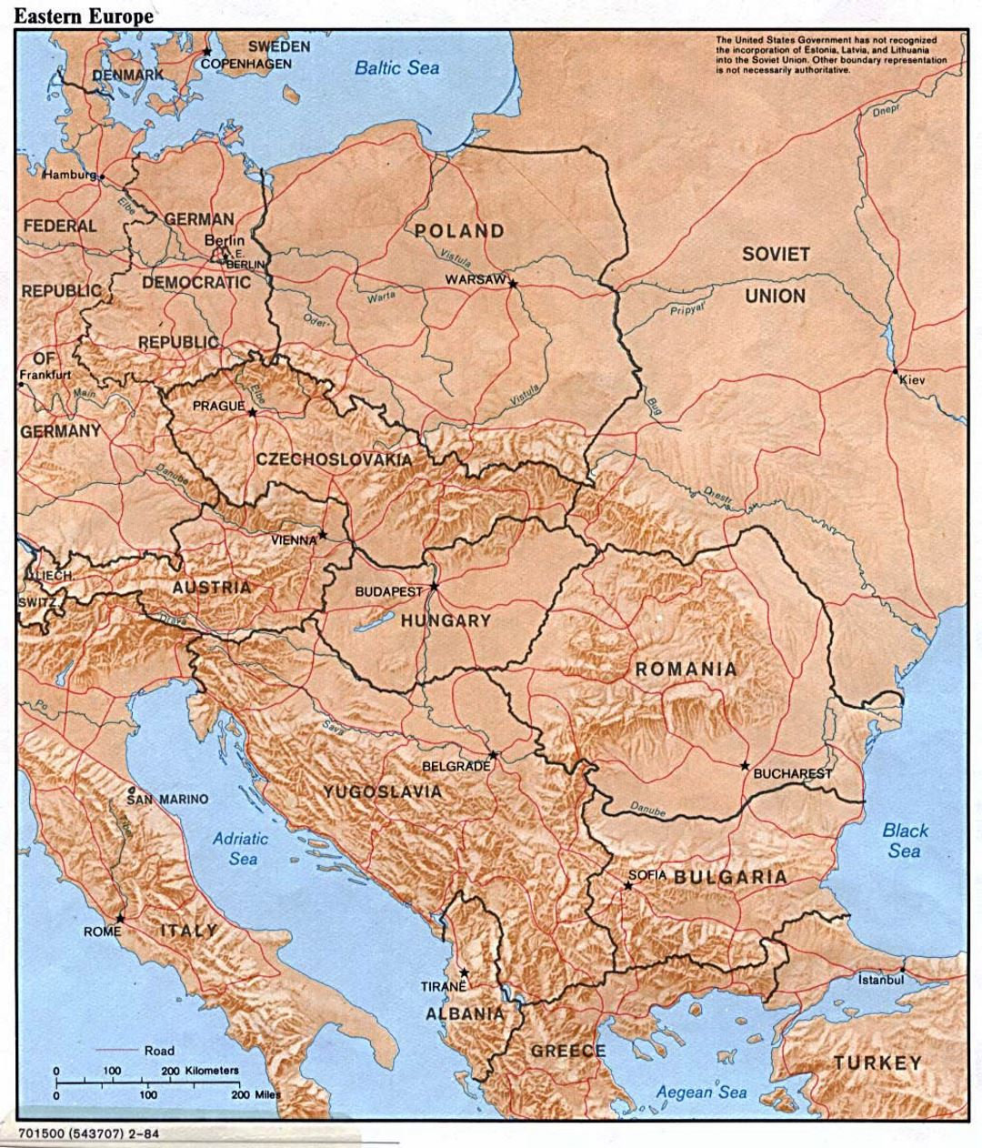 Detailed political map of Eastern Europe with relief - 1984 ...
