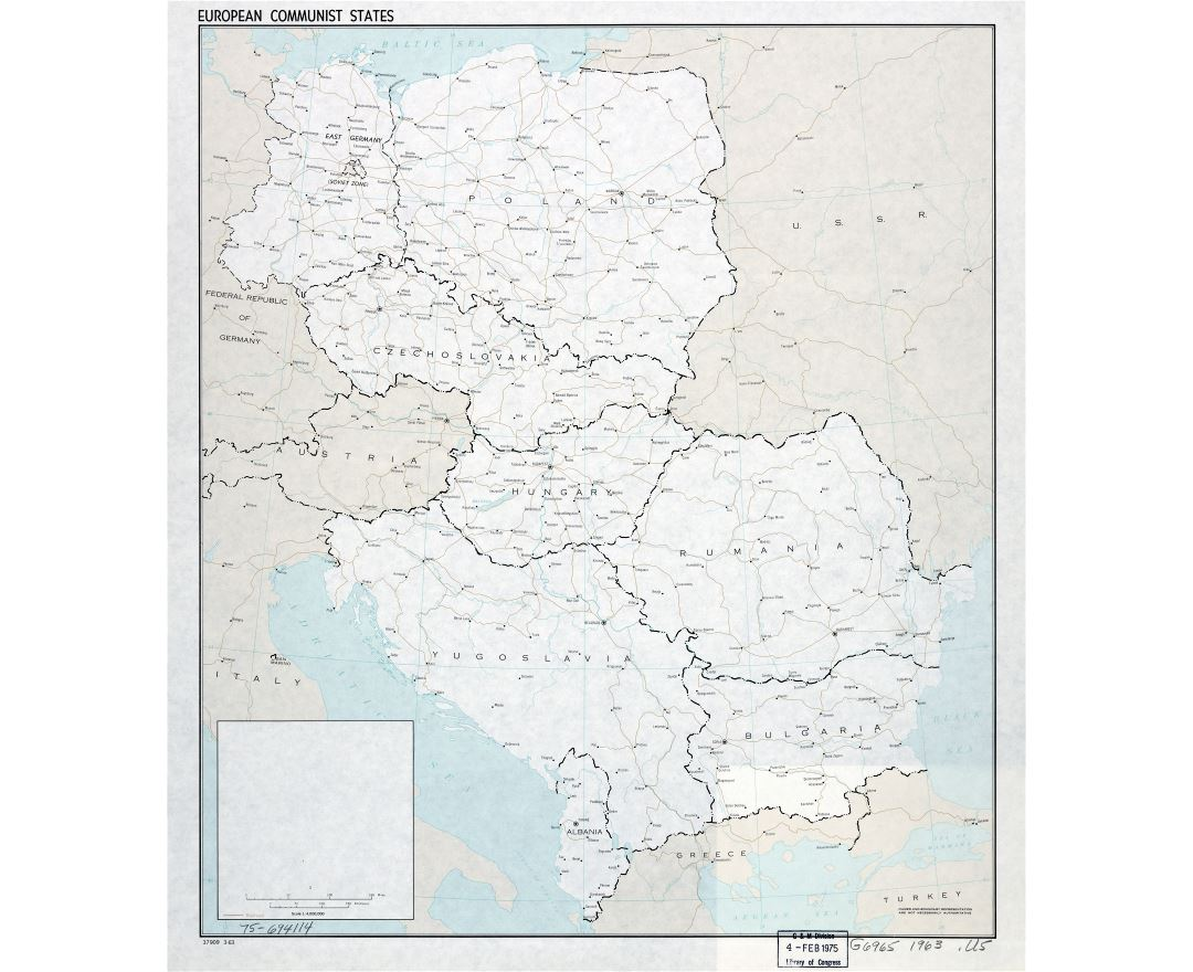 large scale political map of european communist states with the marks of capitals major cities
