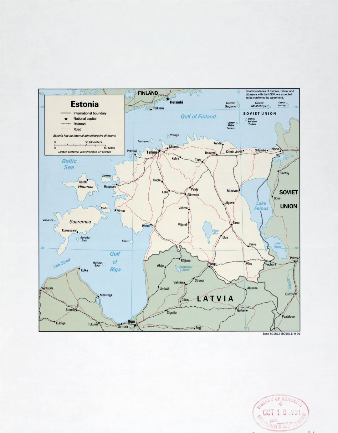 Large detail political map of Estonia with marks of major cities, roads and railroads - 1991