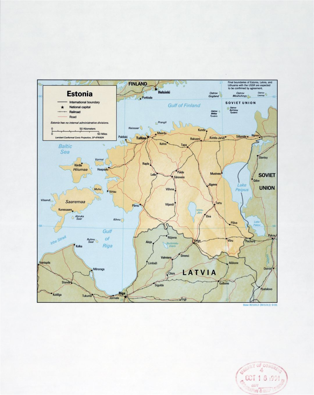 Large detail political map of Estonia with relief, marks of major cities, roads and railroads - 1991