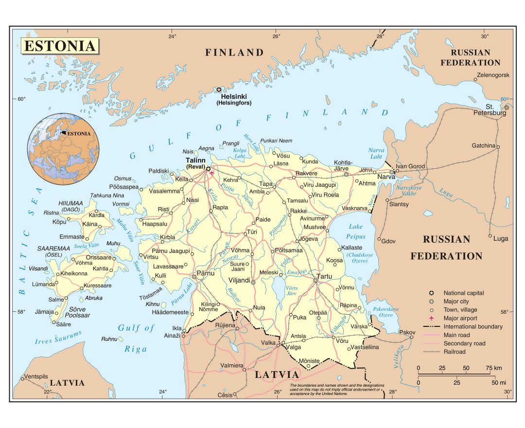 Maps of Estonia | Collection of maps of Estonia | Europe | Mapsland ...