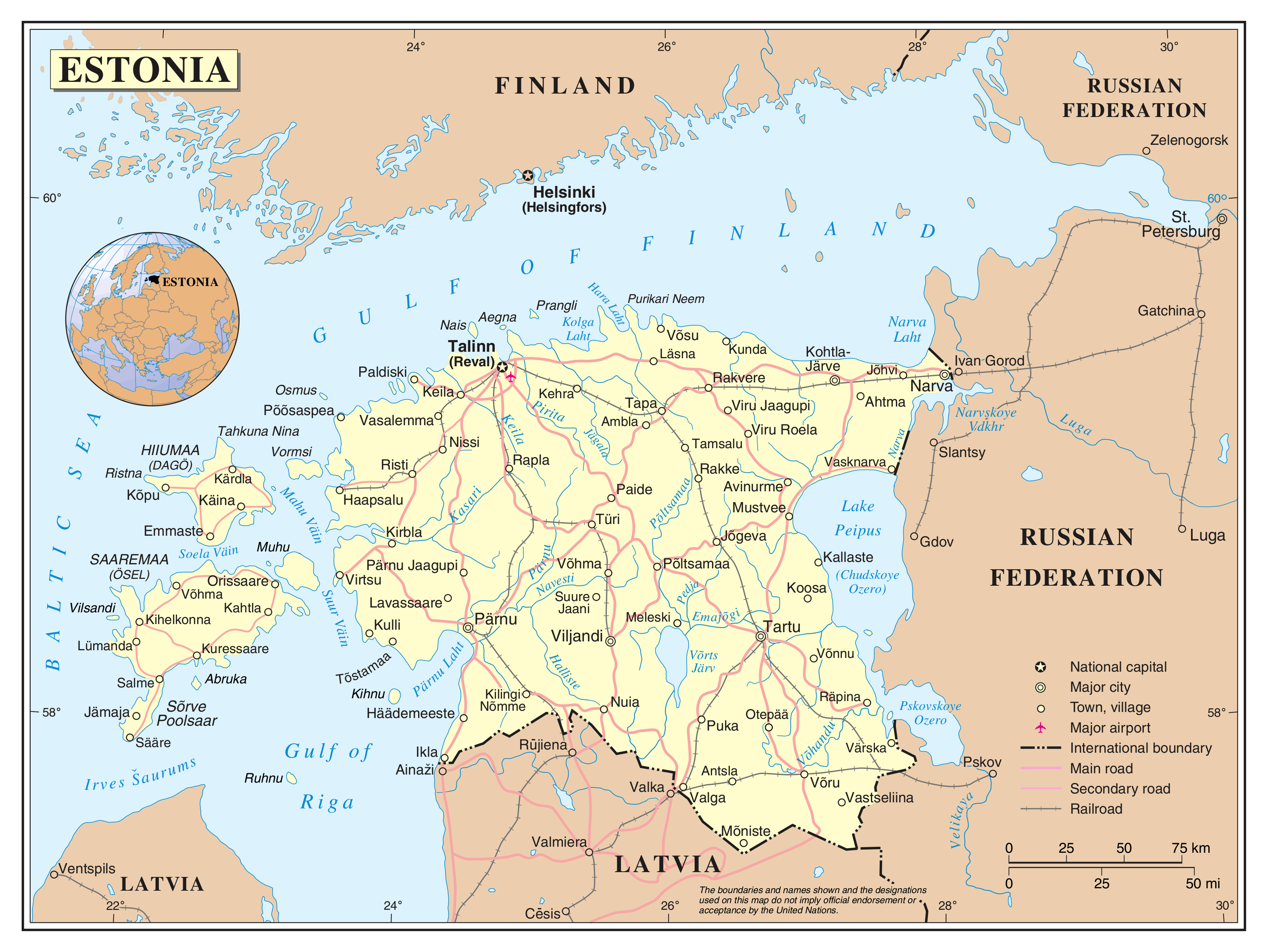 Large detailed political map of Estonia with roads railroads