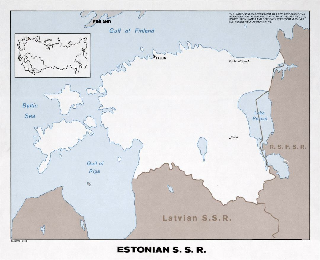 Large political map of Estonian SSR - 1975