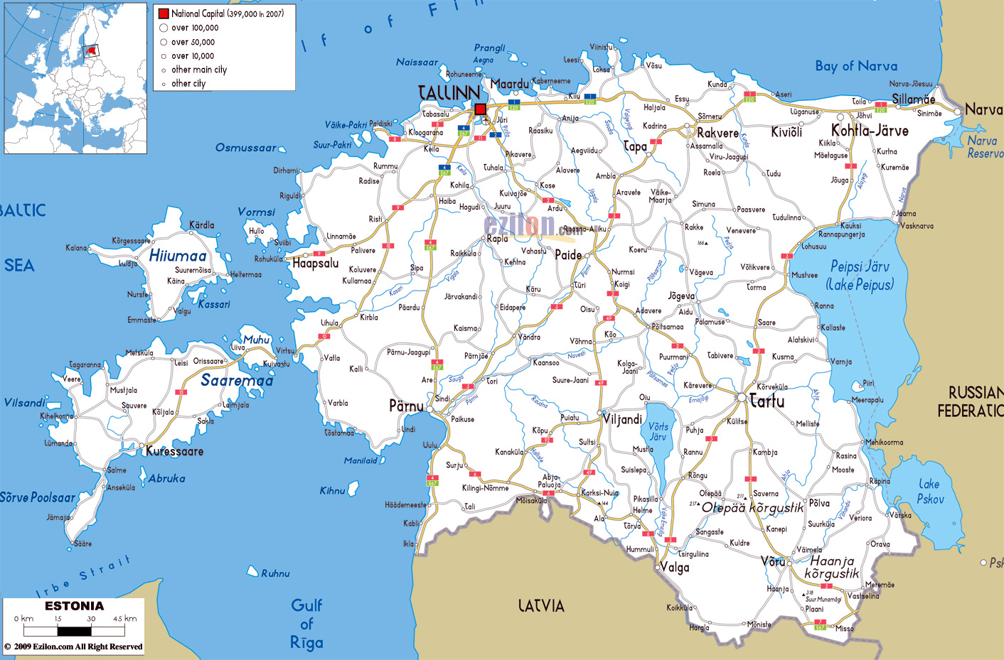 Large road map of estonia with cities and airports estonia large road map of estonia with cities and airports gumiabroncs Images