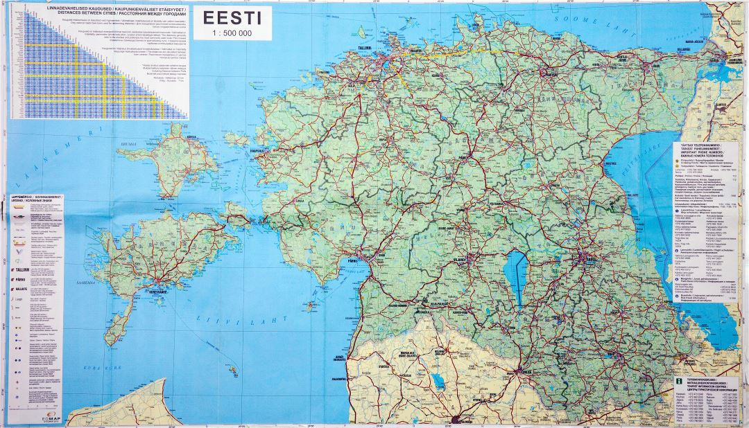 Large scale road map of Estonia