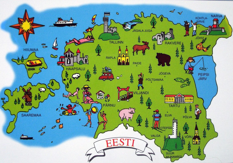 Large tourist illustrated map of Estonia | Estonia | Europe ...