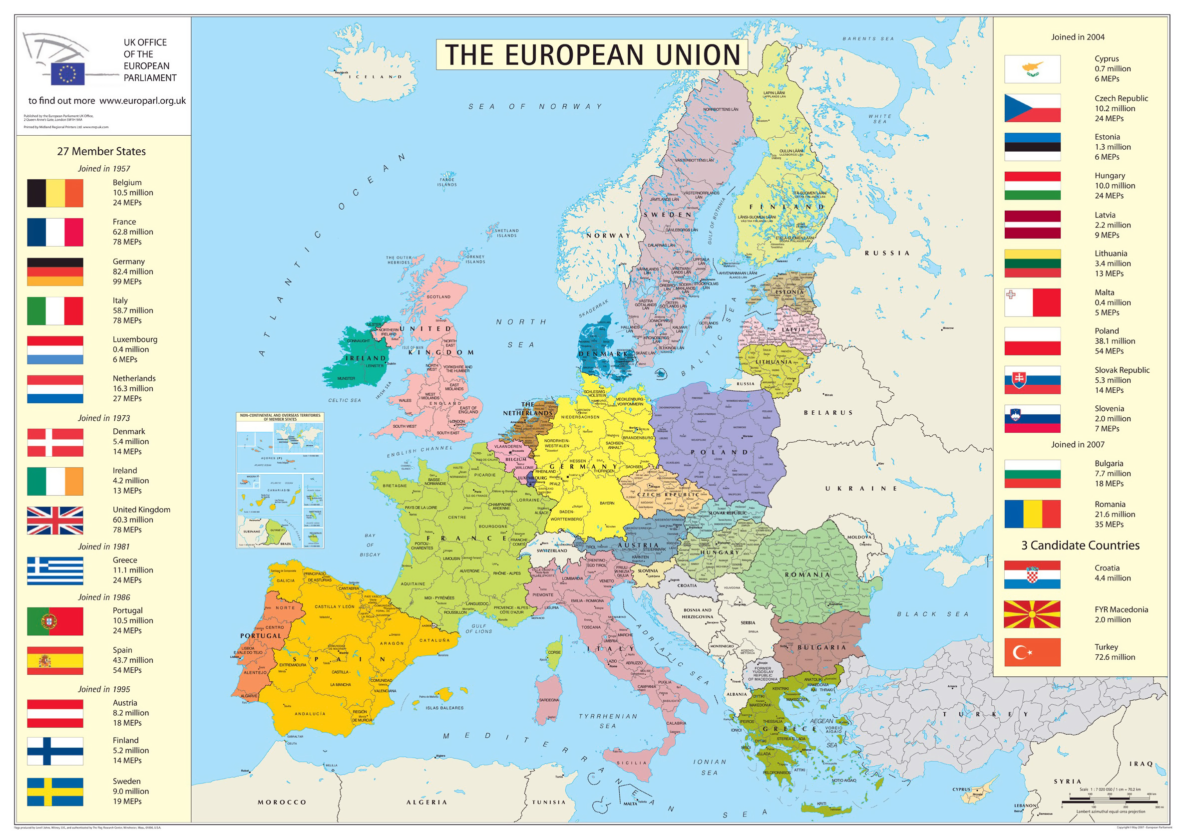 european union member states detailed map