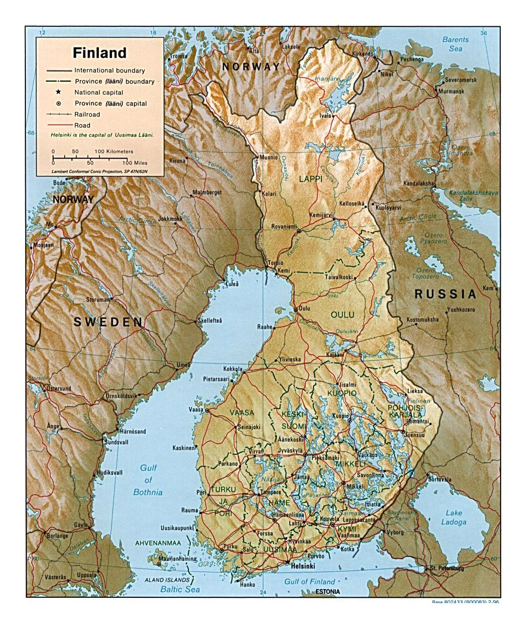 Detailed political and administrative map of Finland with relief, roads and cities - 1996