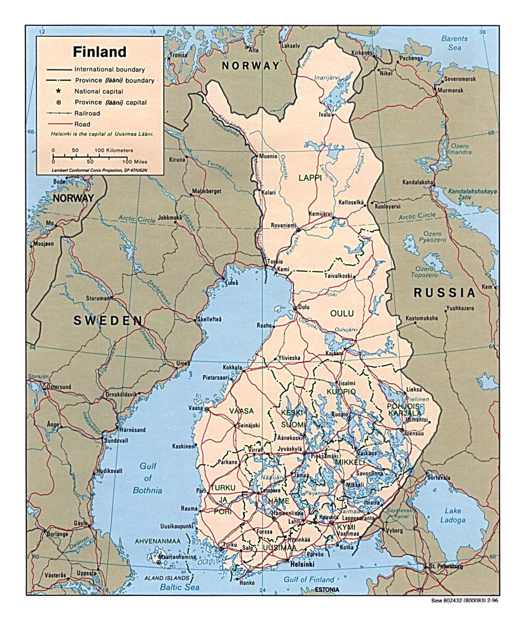 Detailed political and administrative map of finland with roads and detailed political and administrative map of finland with roads and cities 1996 gumiabroncs Image collections