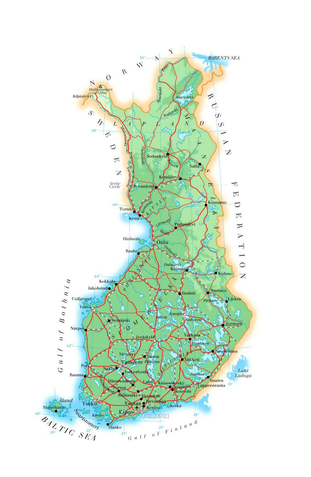 Elevation map of Finland with roads, cities and airports