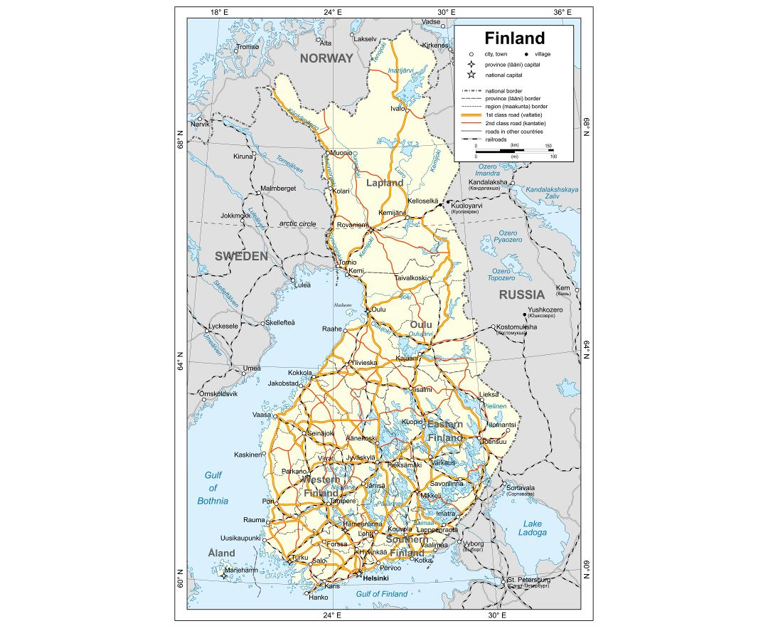 Maps of Finland Detailed map of Finland in English Tourist map