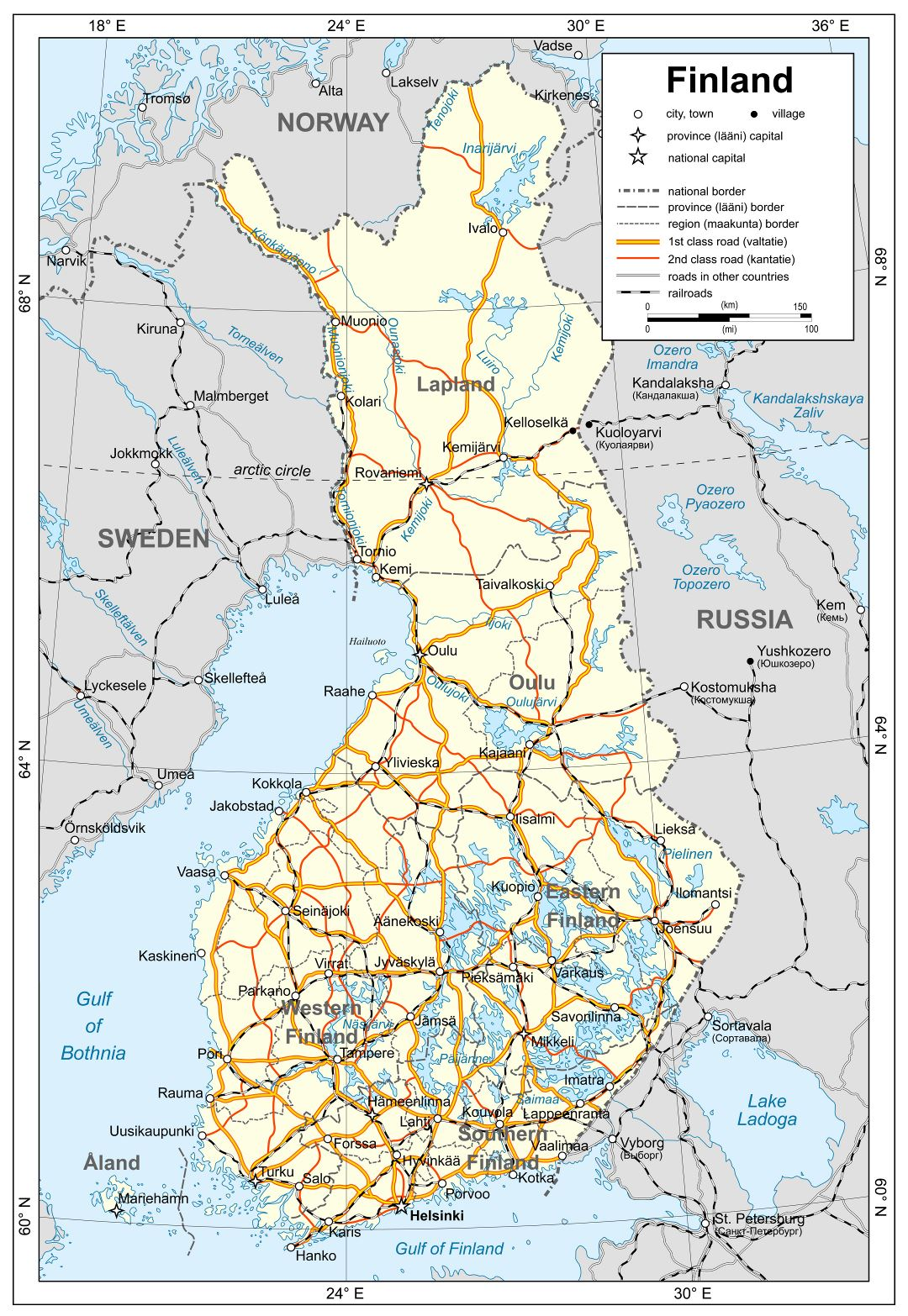 Large detailed political map of Finland with roads, railroads and cities
