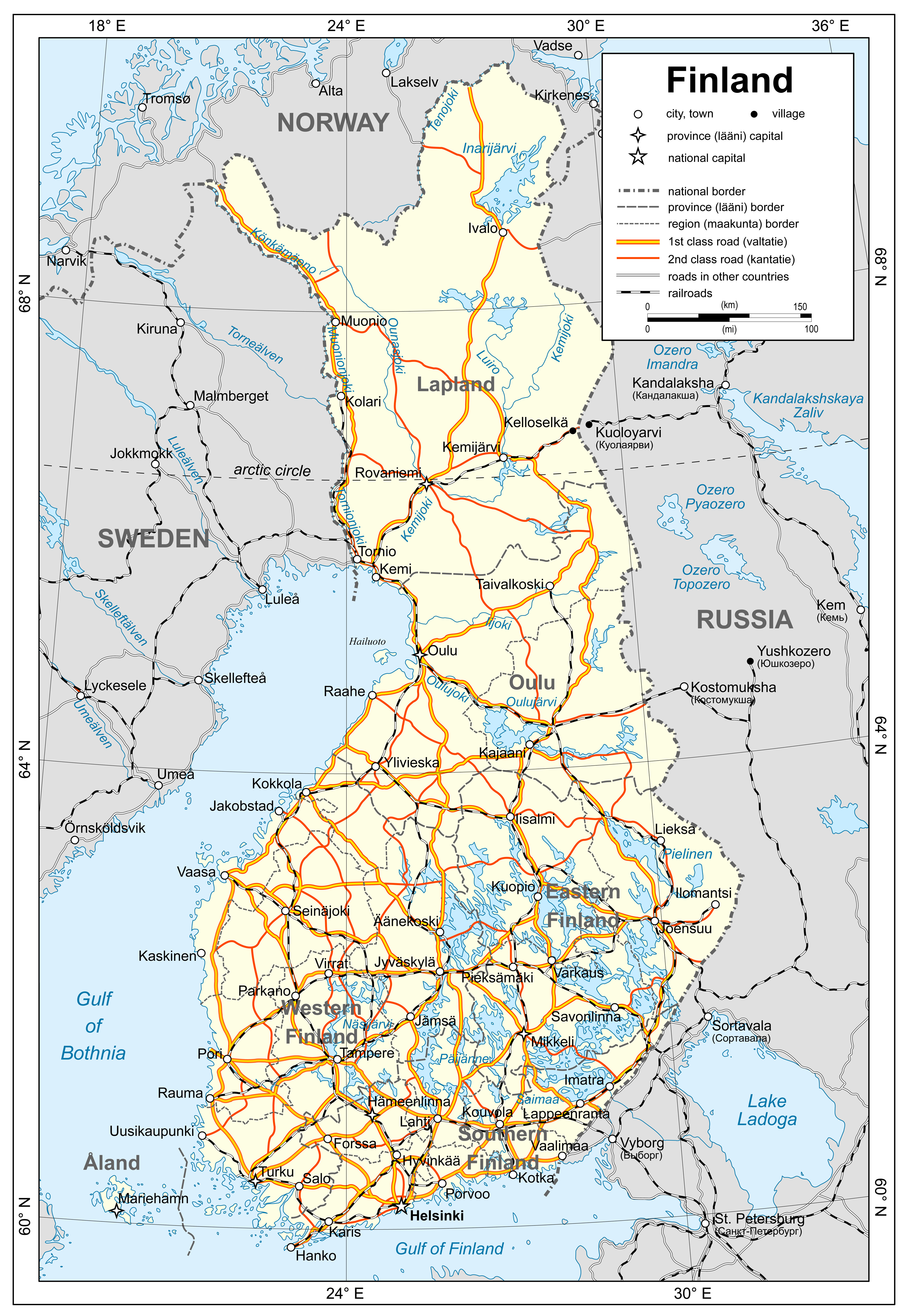 Large detailed political map of Finland with roads railroads and