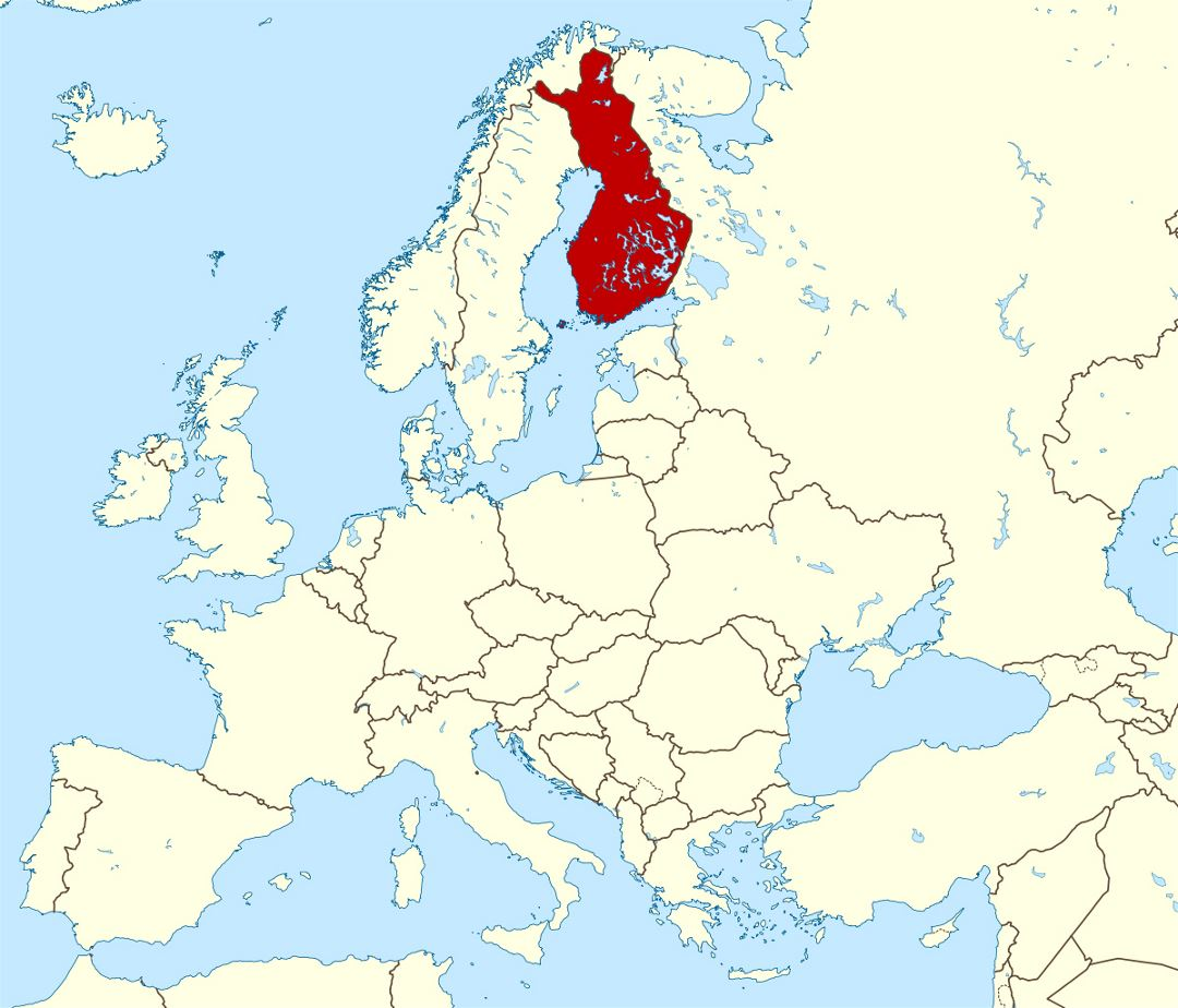 Large location map of Finland