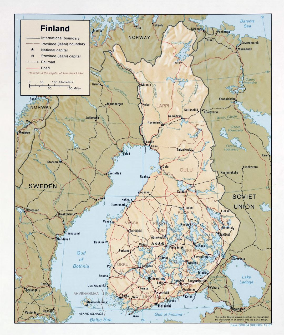 Large political and administrative map of Finland with relief, roads and cities - 1987