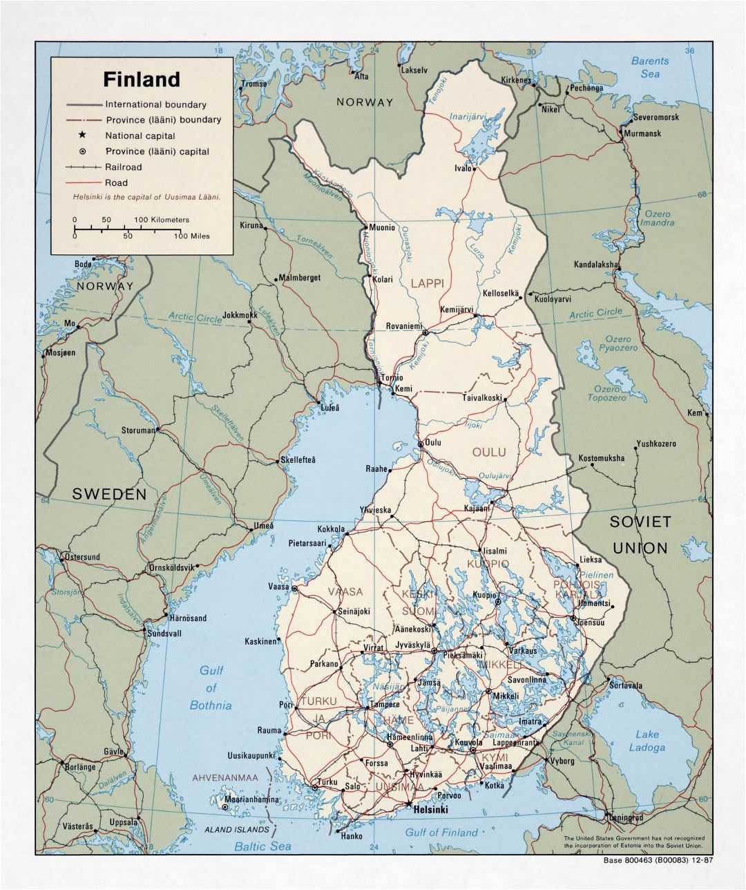 Large political and administrative map of Finland with roads and cities - 1987