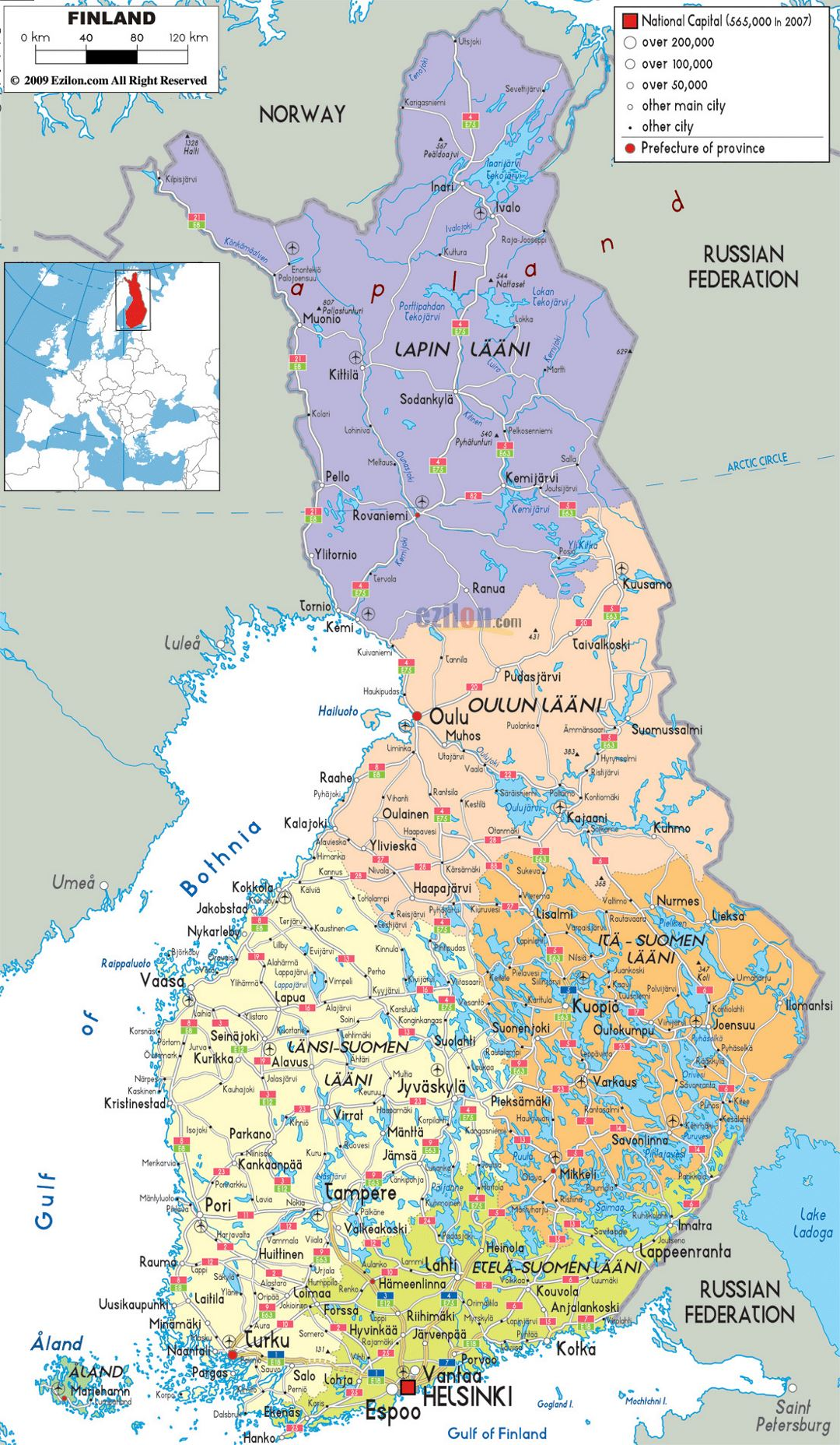 Large political and administrative map of Finland with roads, cities and airports