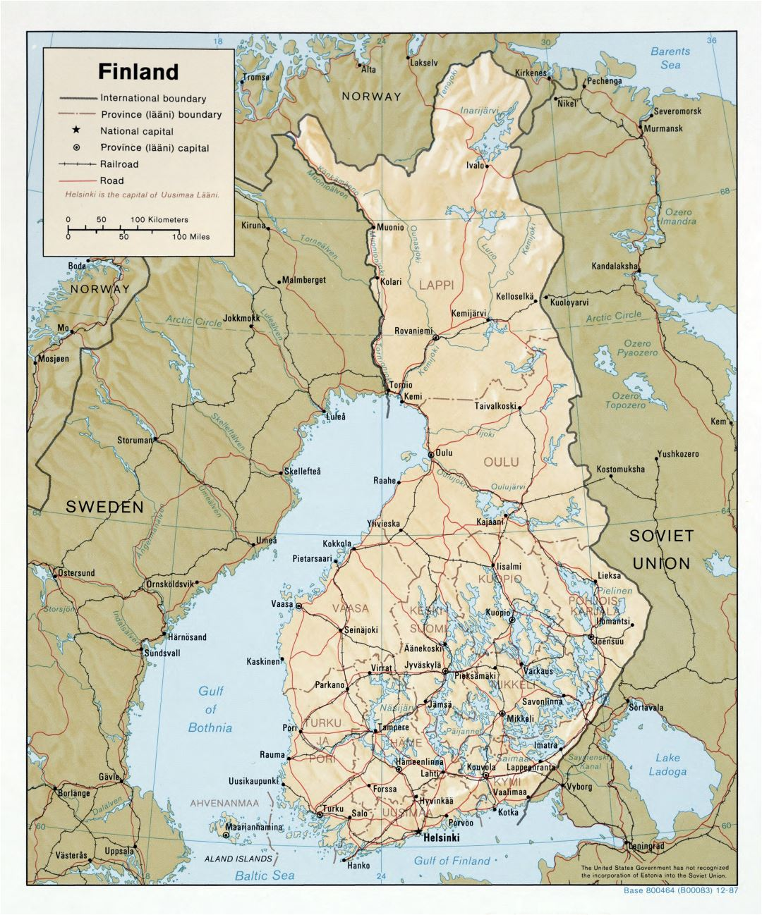 Large scale political and administrative map of Finland with relief, roads and major cities - 1987