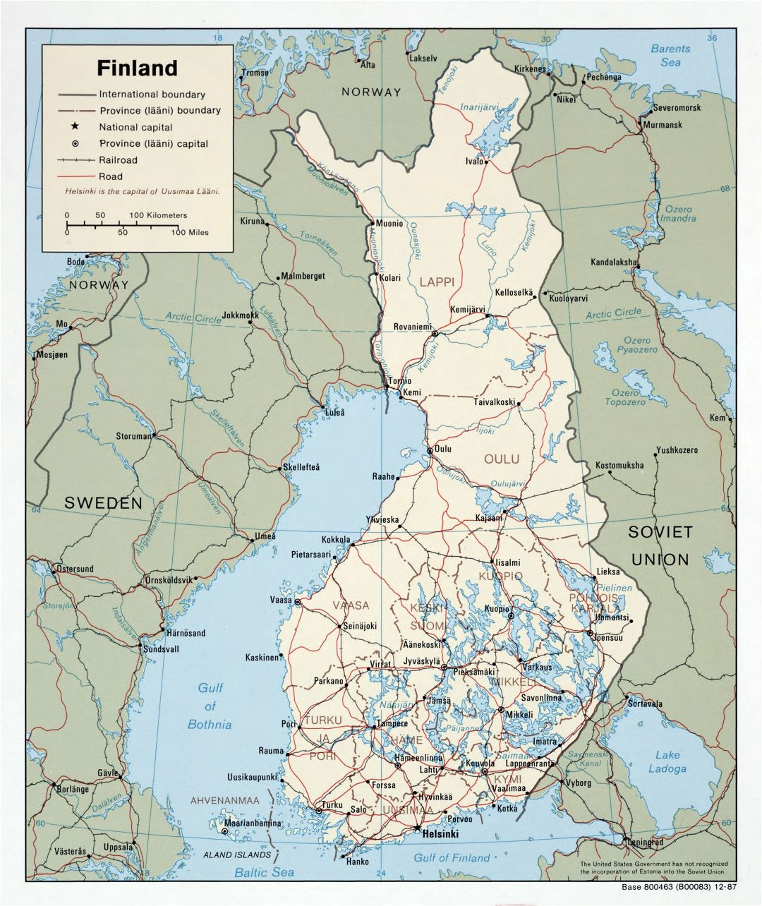 Large scale political and administrative map of Finland with roads and major cities - 1987