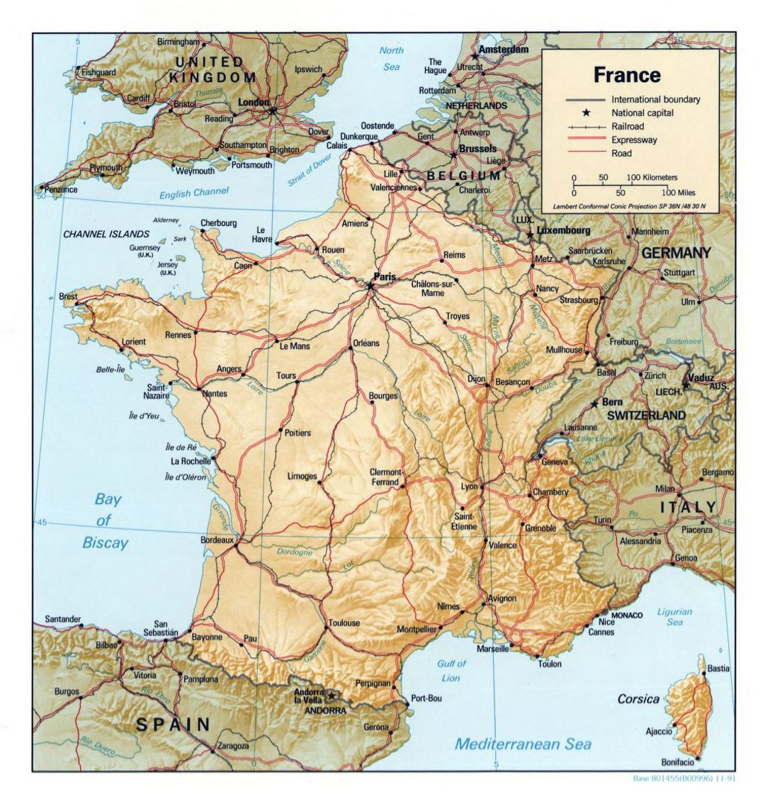 Map Of France Major Cities.Detailed Political Map Of France With Relief Roads And Major Cities
