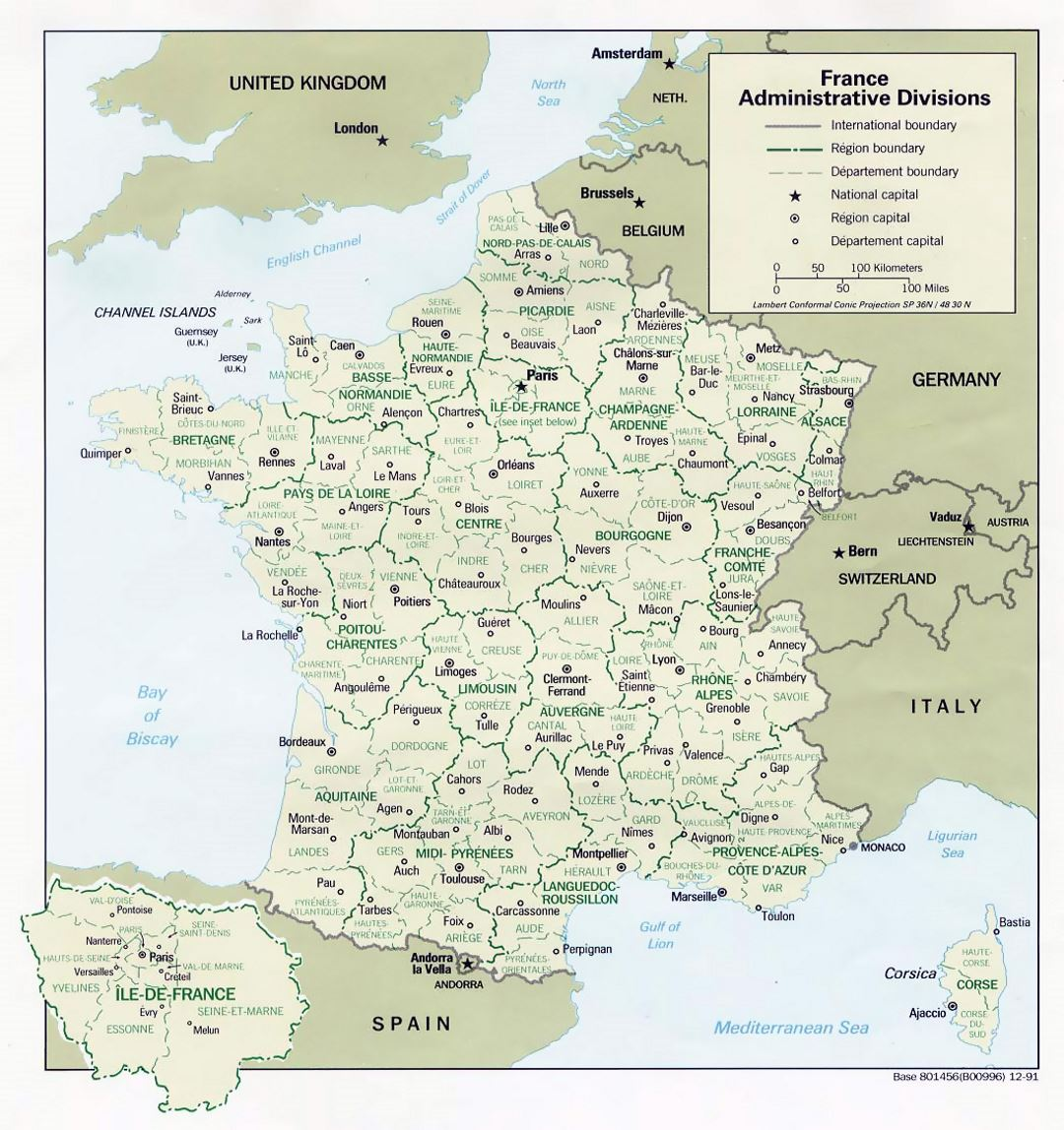 Large administrative divisions map of France - 1991