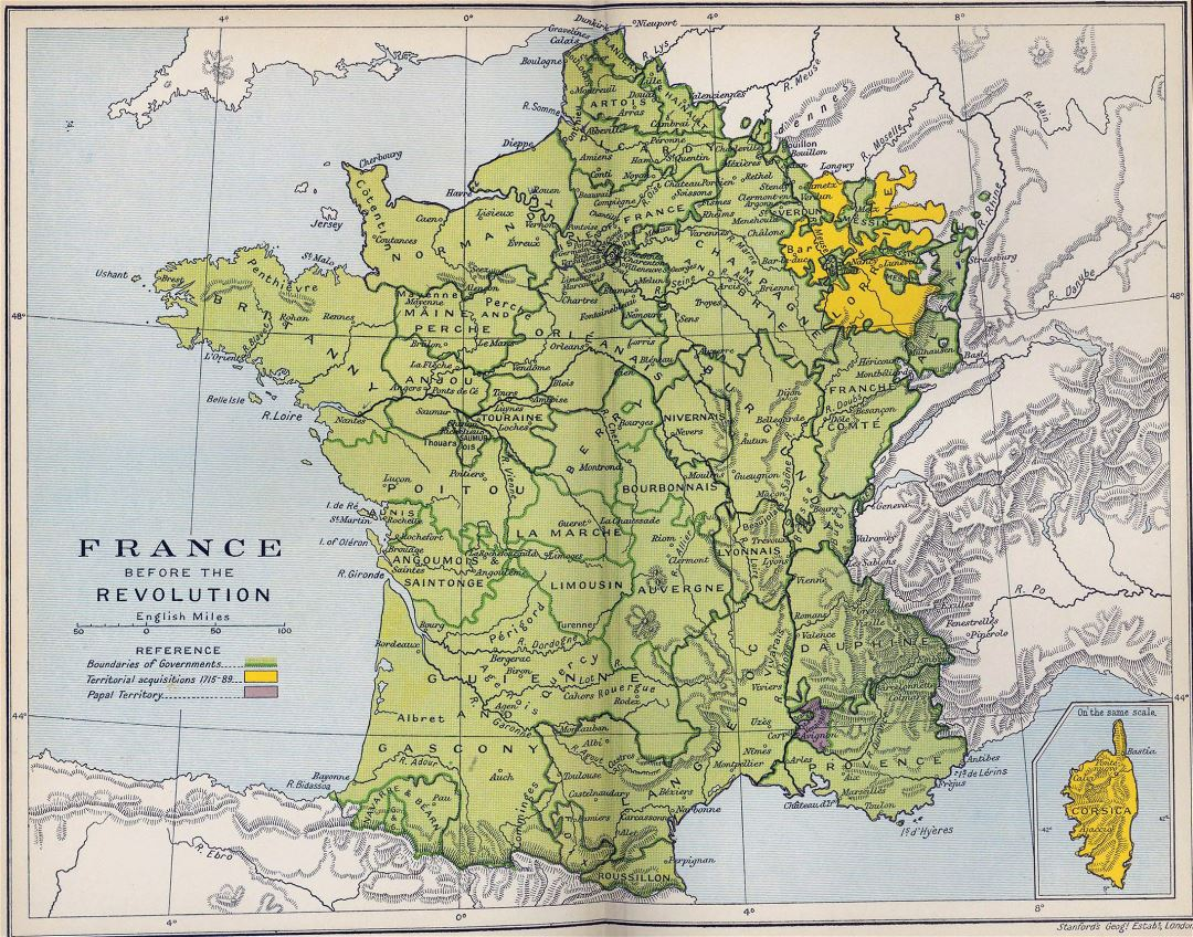 Large detailed old map of France before the revolution - 1788