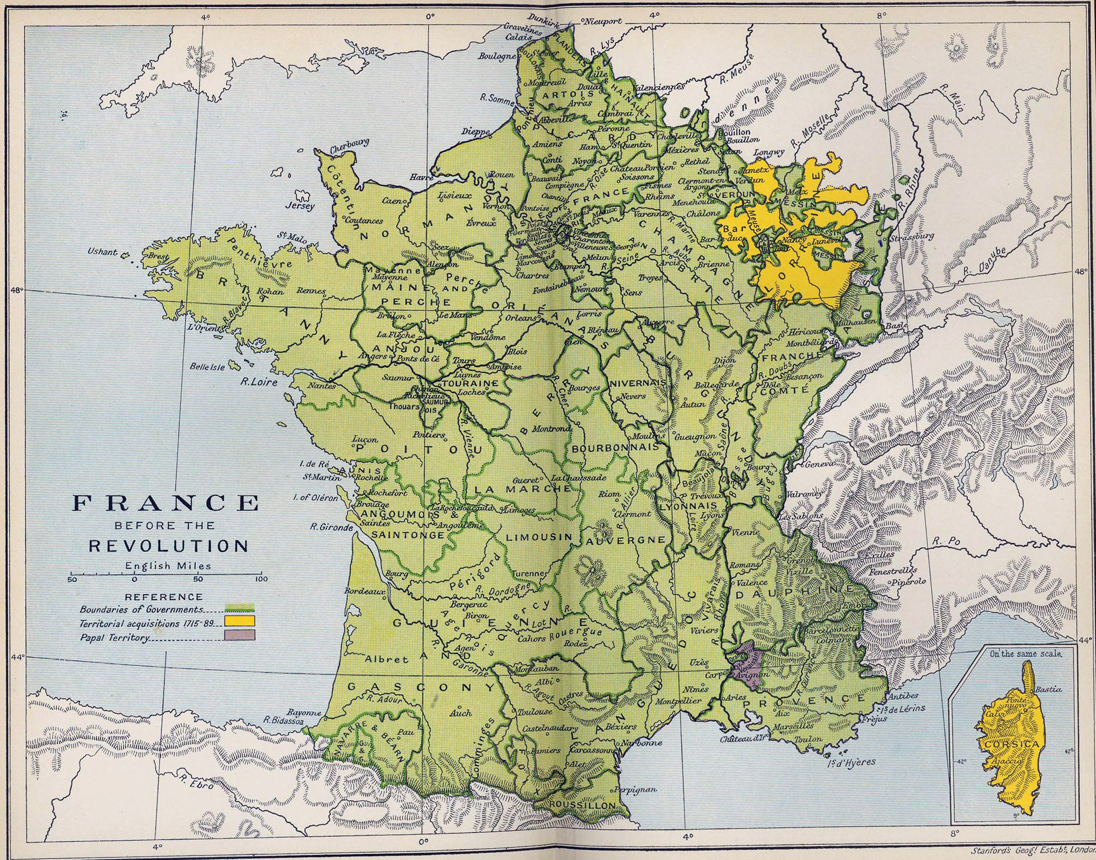 Old Map Of France.Large Detailed Old Map Of France Before The Revolution 1788