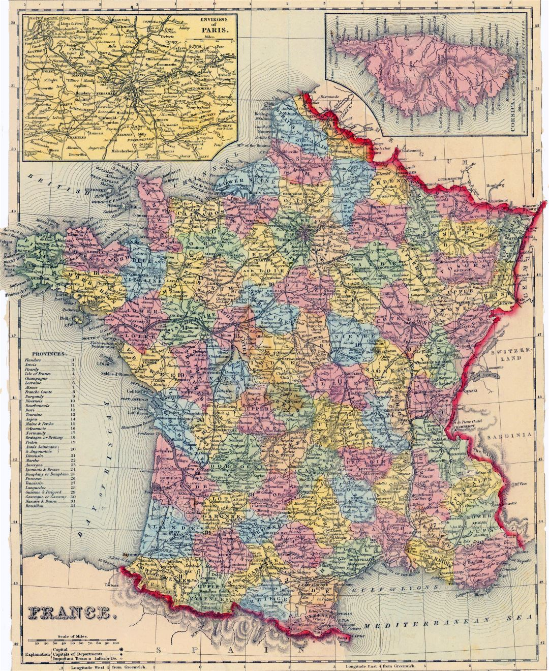 Large detailed old political and administrative map of France - 1857