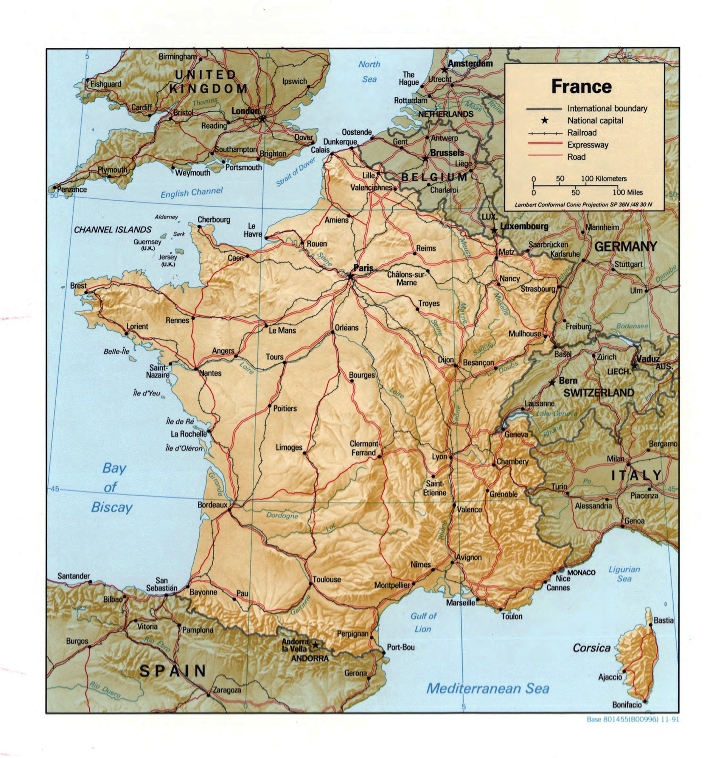 Large detailed political map of France with relief 1991 France