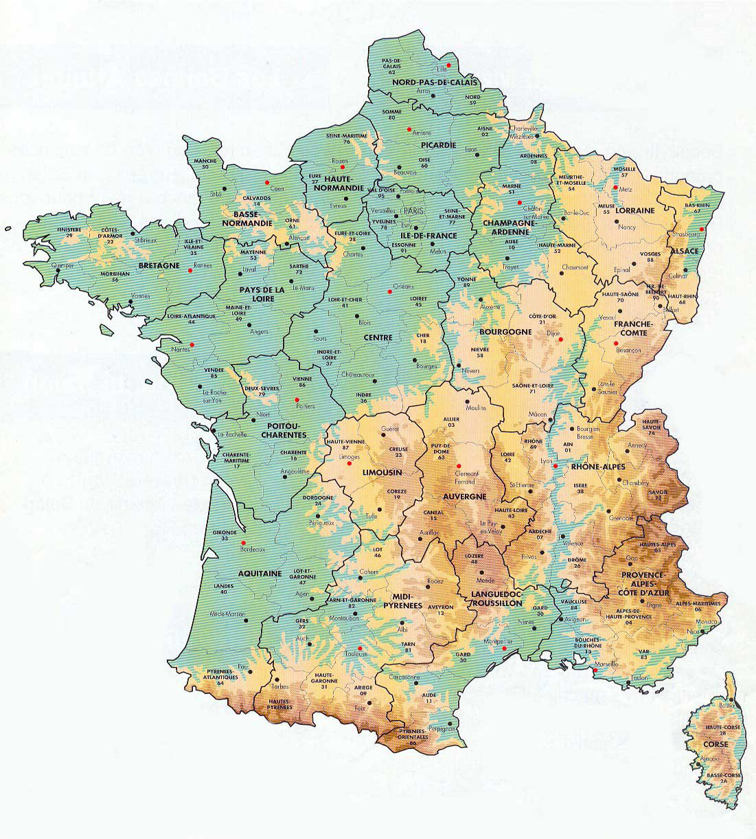 Map Of Europe France.Large Elevation Map Of France With Administrative Divisions France
