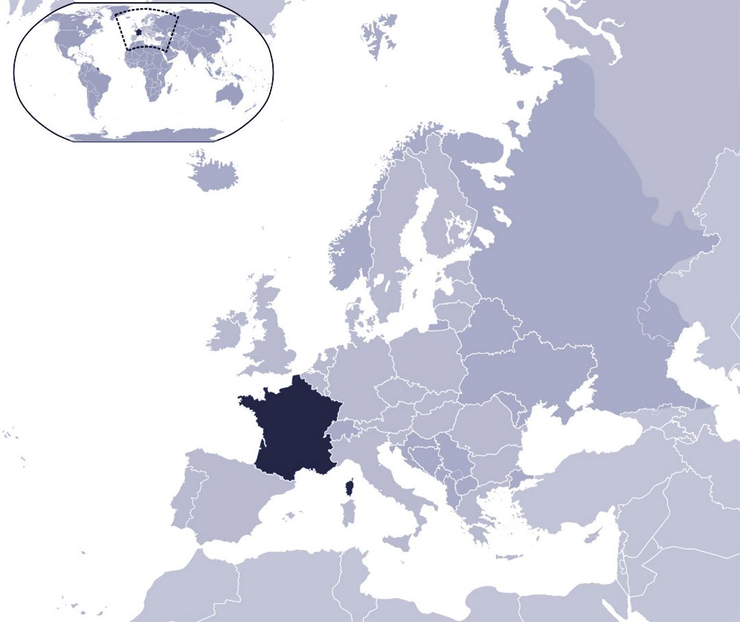 Large Location Map Of France France Europe Mapsland Maps - Where is france on the map