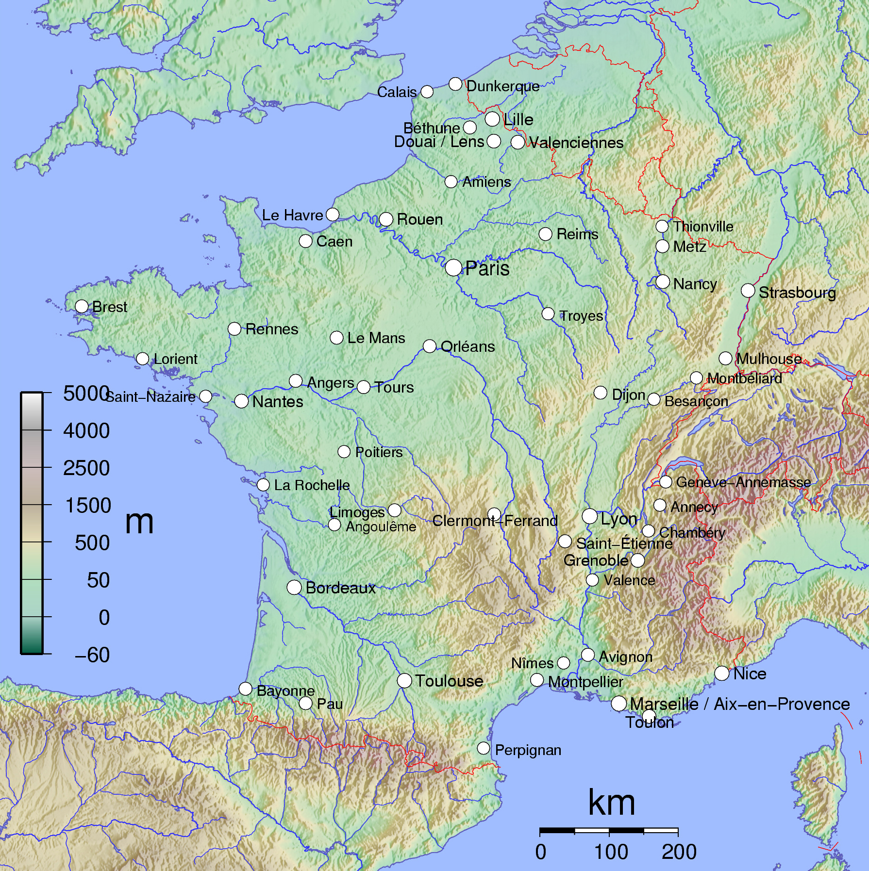 Physical Map Of France Large physical map of France | France | Europe | Mapsland | Maps  Physical Map Of France