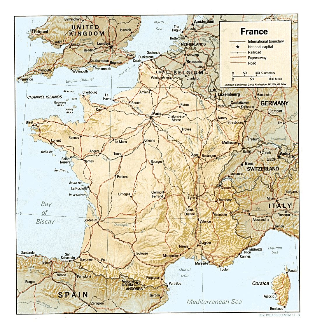Large political map of France with relief - 1991