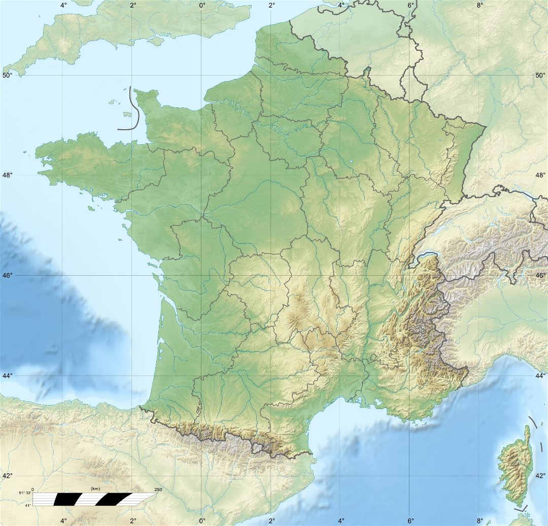 Large relief map of France