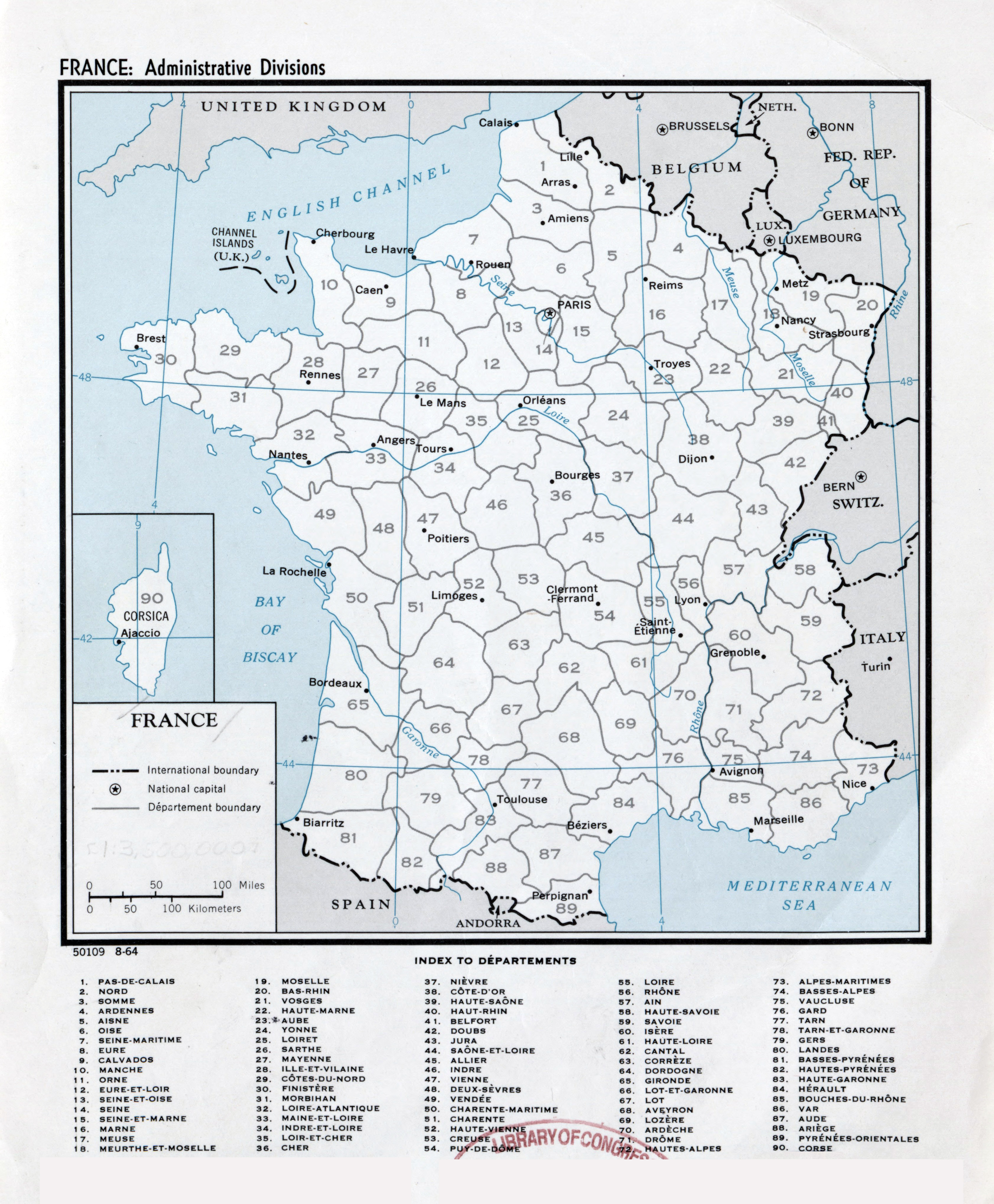 Large Scale Map Of France.Large Scale Administrative Divisions Map Of France 1964