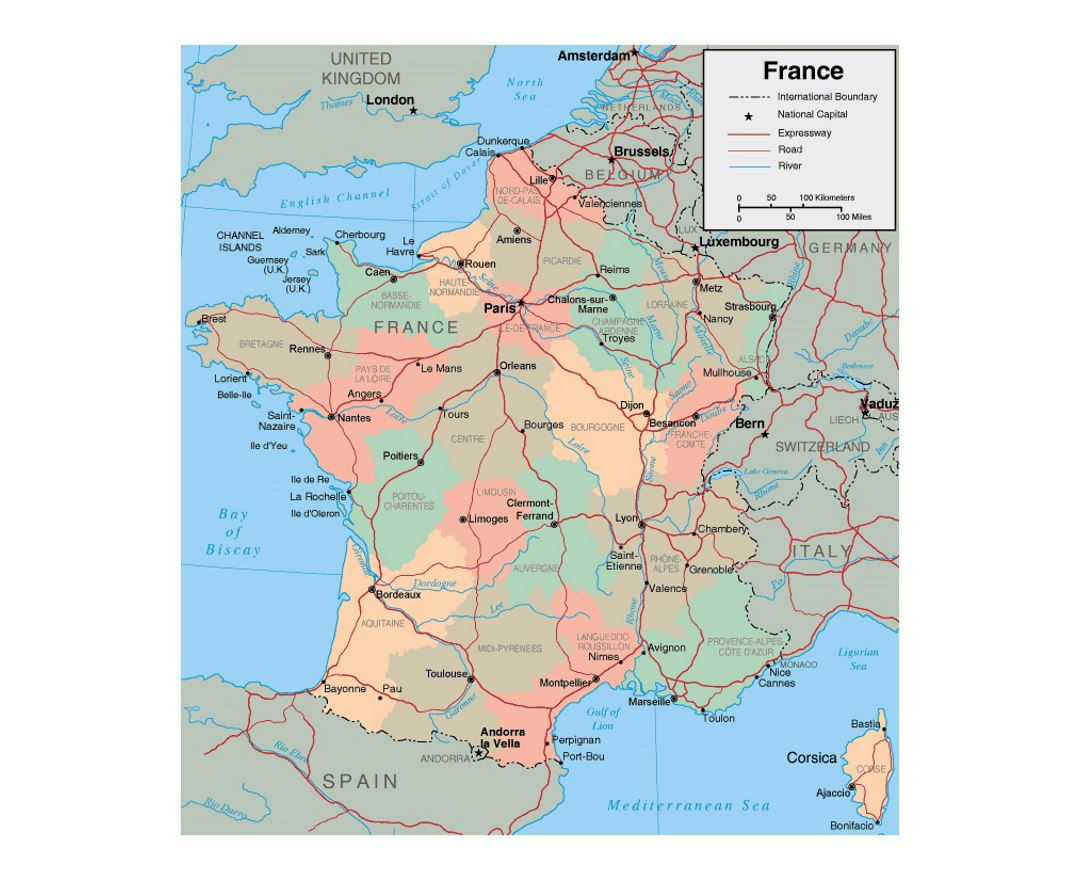 Maps of France Detailed map of France in English Tourist map