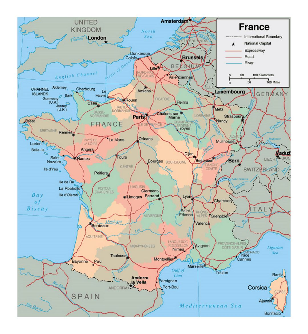 Political And Administrative Map Of France With Major Cities - Major cities in france